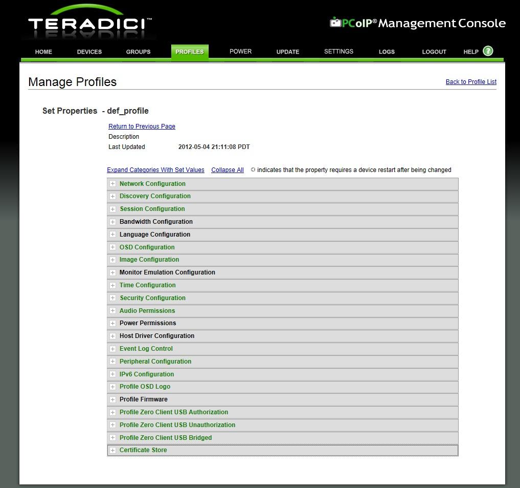 Настройка профиля устройства Teradici
